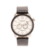 Heritor Automatic Wellington Leather-Band Watch - Black/White - $750.00