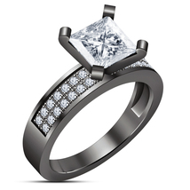 1.5Ct Princss Halo Diamond Solitaire Engagement Wedding Ring Black Gold Finish - $79.99