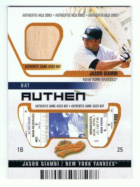 Jason Giambi New York Yankees 2003 Fleer Authentix Game Used Bat UNRIPPED /50 - $14.95