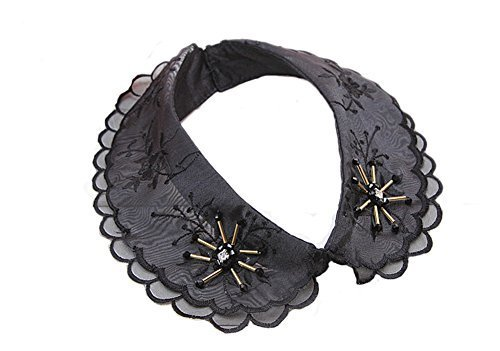 Retro Elegant Lace Beads Detachable False Collar Stand Collar-Black Diamond
