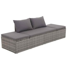 vidaXL Outdoor Lounge Bed Poly Rattan Gray Wicker Patio Pool Sofa Sunlou... - $223.99