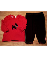 Girl's Size 3-6 M Months 2 Pc Red Baby Q Scotty Dog L/S Top & Black Dins... - $12.50
