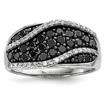 Sterling Silver Black & White Diamond Ring QR3324 Size 6 - 8 - $544.41