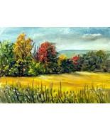 Original Oil Painting Okla Fall landscape miniature SFA - $5.00