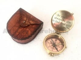 An item in the Antiques category: Handmade Solid Brass Marine Compass With Case Vintage Working Compass Decorative