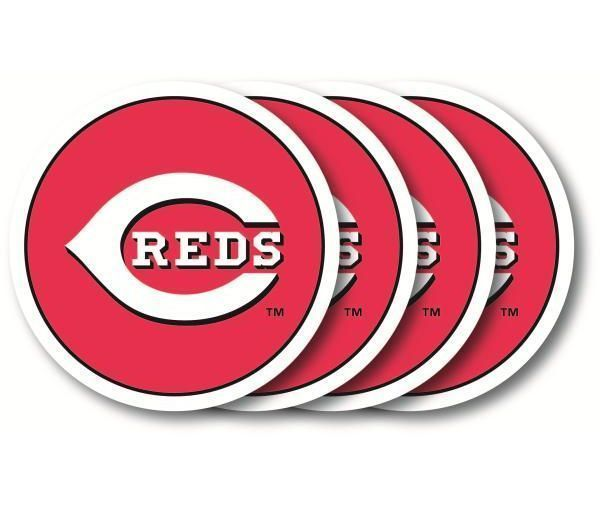 CINCINNATI REDS 4 PACK HEAVY DUTY VINYL DRINK COASTER SET MLB BASEBALL