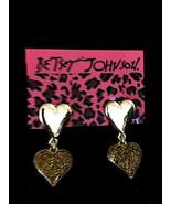 Betsey Johnson Gold Alloy Sparkle Double Heart Dangle Post Earrings - $8.99