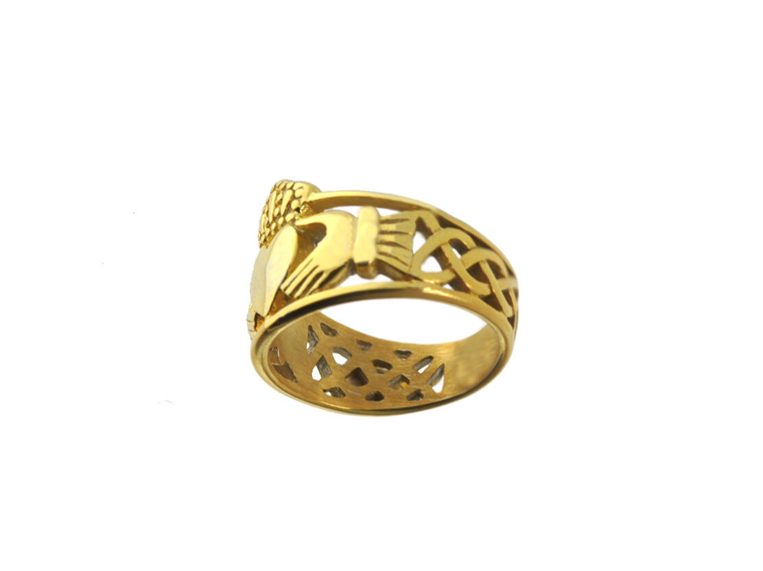 New Heavy Wide 10K Yellow Gold Claddagh Ring Infinity knot Jewelry pick size