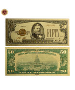 """WR 1928 """"Gold Certificate"""" $50 Gold Foil Pleated US Banknote Colored Gol... - $3.00"""