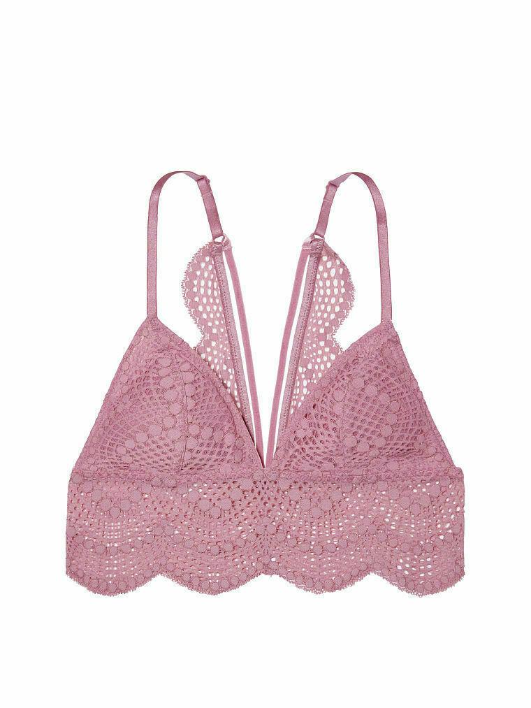 Victoria's Secret Long Line Bralette Strappy Lace light padding padded bra S L - $21.99