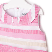 Mayoral Little Girls 2T-9 Light Fuchsia-Pink Jacquard Stripe Social Party Dress image 3