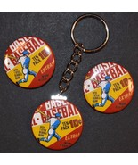 1970 Topps Baseball Wrapper Set of 3 Key Chain, Magnet and Pinback Butto... - $4.99