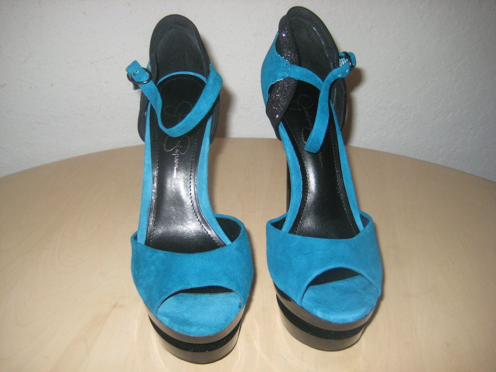 Jessica Simpson Shoes Size 8.5 M Womens New Casper Emerald Suede Open Toe Heels image 3