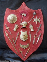 Rare Medieval Renaissance Style Serpentine Battle Shield Wall Plaque Man... - $508.33
