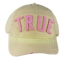 NEW TRUE RELIGION UNISEX DISTRESSED BASEBALL HAT CAP CREAM/PINK TR1770 - $46.98