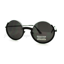 Open Top Half Circle Round Sunglasses Metal Frame Spring Hinge - $9.95