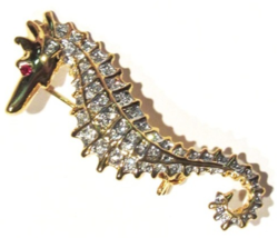 Seahorse Pin Brooch Clear Crystal Gold Tone Metal Beach Ocean Beach Jewelry - $19.99