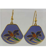 "LAUREL BURCH ""LILY"" Blue Purple Green Enamel Gold-Tone Drop Dangle EARRINGS - $25.00"