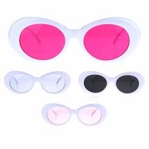 Womens Thick White Plastic Oval Feminine Retro Pop Color Lens Sunglasses - $9.95