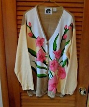 Tan with large pink flowers cardigan from Storybook Knits size 2x - $25.50