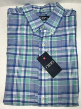 Chaps Plaid Mens Shirt Large Linen Cotton Swiss Blue Green Short Sleeve NWT $55 - $20.57