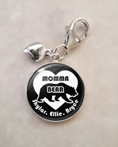 Sterling Silver Charm Momma Bear mommabear mother mom mommy Custom Kid N... - $30.50