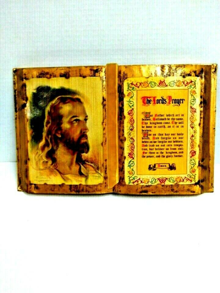 Lords Prayer Decapage Book Jesus Picture 12 inch x 8 inch Beautiful