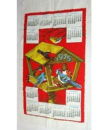 1975 Vintage Linen Calendar Towel Bright Red w Birdhouse Feeder & Birds T73 - $18.32