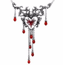 Bleeding Heart Skull Pendant Dramatic Necklace Red Crystals Alchemy Gothic P550 - $88.95