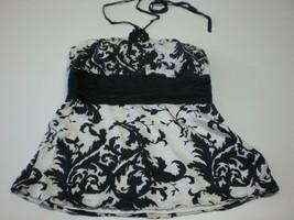 W13711 Womens WHITE HOUSE BLACK MARKET 100% Silk Filigree HALTER TOP Blo... - $19.28