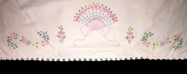 True Vintage Pillow Case Embroidered Pink Blue Fan Flowers Crocheted Trim - $12.99