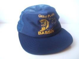 Vintage Great Plains Bassin Fishing Hat Dark Blue Snapback Trucker Cap M... - $23.05
