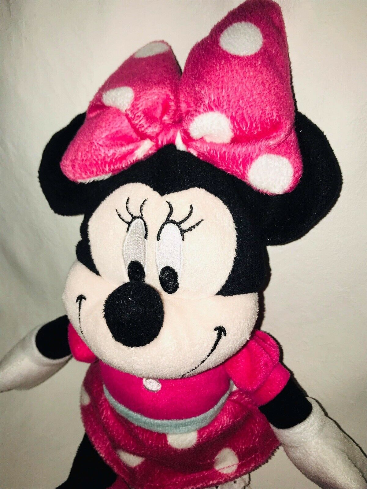 "Disney Minnie Mouse Plush Pink Polka Dot  Stuffed Animal Doll 15"" image 3"