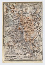 1925 VINTAGE MAP OF BADEN-BADEN / GERMANY - $25.74