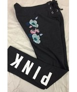 Victoria's Secret PINK Lace Up Skinny Sweatpant Jogger Charcoal Flowers S - $33.66