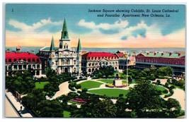 Mid-1900s Jackson Square Cabildo, St. Louis Cathedral, New Orleans, LA P... - $5.48