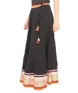 Gold Flower Border Jaipuri Skirt - $25.75