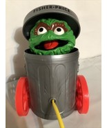 Vtg Fisher Price OSCAR THE GROUCH Pop Pull Toy Sesame Street Garbage Can... - $17.34