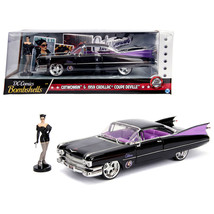 1959 Cadillac Coupe DeVille Black with Catwoman Diecast Figure DC Comics... - $38.28