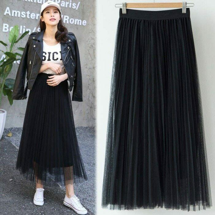 2019 Spring Summer Vintage Skirts Womens Elastic High Waist Tulle Mesh Skirt image 4