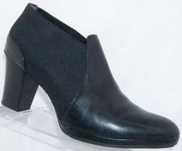 Rockport 'Deshon' black leather almond toe elastic slip on bootie heels ... - $37.04