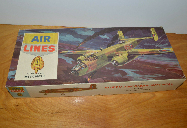 Vintage AIR LINES MITCHELL BOMBER Military Plane Model 1964 Testors 1:72  - $14.89