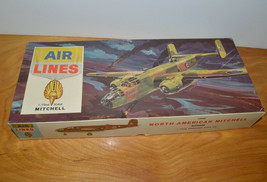 Vintage AIR LINES MITCHELL BOMBER Military Plane Model 1964 Testors 1:72  - $14.89