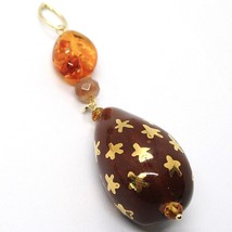 18K YELLOW GOLD PENDANT AMBER CITRINE ADULARIA, POTTERY DROPS HAND PAINTED STA image 2