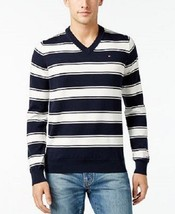 Tommy Hilfiger Men's Striped V-Neck Pullover Sweater White/Blue XL $50 - $29.69
