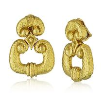 David Webb Door Knockers 18K Yellow Gold Hammered Finished Gold Earrings - $17,550.00