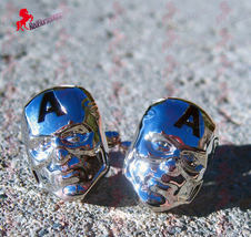 Captain America Mask Cufflinks  – Wedding, Father's Day, Birthday, Dad's Gifts - $3.95