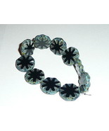 Wonderful Large Czech Glass Black Carved Coin Beads  (10) 18mm - $8.41