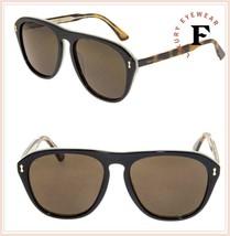 GUCCI 0128 Vintage Aviator Black Ivory Havana Sunglasses GG0128 Unisex 004 - $210.38