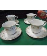 beautiful ABINGDON Fine Porcelain China Set of 4 CUPS & SAUCERS - $20.50